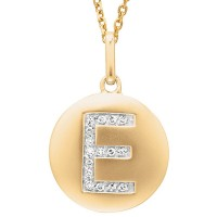 Disc Initial Letter E Necklace