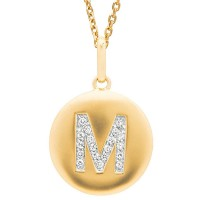 Disc Initial Letter M Necklace