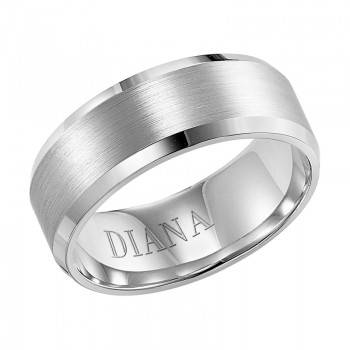 Diana Comfort Fit Wedding Band With Brush Finish And Bevel Edge