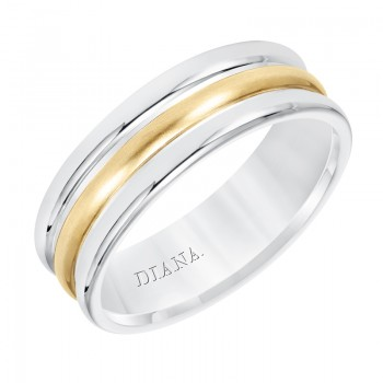 Diana Double Dome Wedding Band With Satin and Bright Finish Rolled Flat Edges