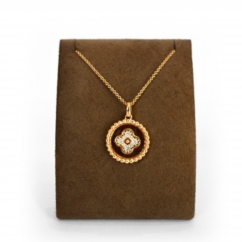 Rose Gold Diamond Clover Pendant Necklace