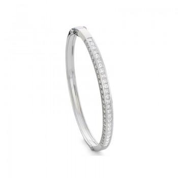 Precision Set Hinged 2.25CT Princess Diamond Pave Bracelet with 1.00CT Bead Side