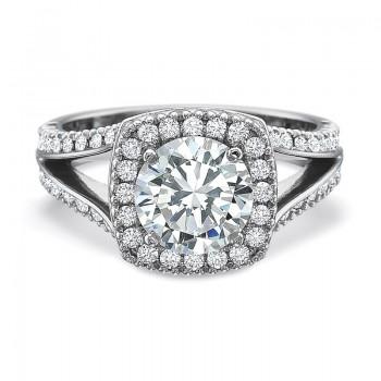 Precision Set New Aire Diamond Prong Set Cushion Halo Engagement Ring
