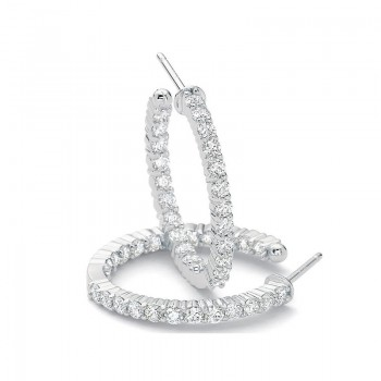 Precision Set Diamond Prong Hoop Earrings
