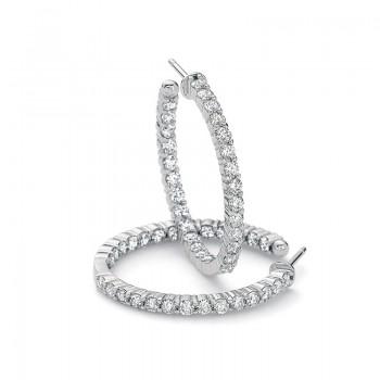 Precision Set Diamond Prong Hoop Earrings