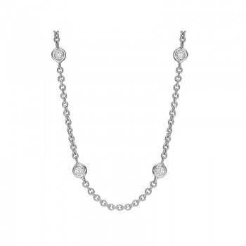 Precision Set Bezel Set Diamond Necklace (24 Inch)