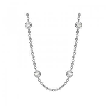 Precision Set Bezel Set Diamond Necklace (30 Inch)