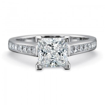 Precision Set FlushFit Solitaire with .50CT Princess Cut Diamond Channel Set Shank