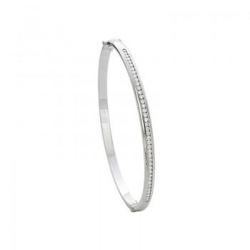 Precision Set Diamond Channel Set Hinged Bracelet