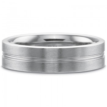 Precision Set Men's 6MM Flat with Center Line Accent and Brushed Finish Wedding Band