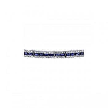 Sasha Primak Baguette Sapphire Bracelet with Pave Diamond Border