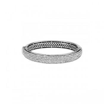 Thick Pave Diamond Bangle Bracelet