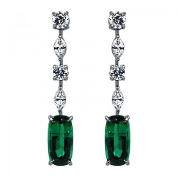 Sasha Primak Green Tourmaline and Diamond Drop Earrings