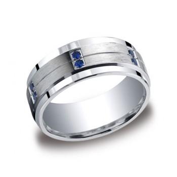 Diamonds Argentium Silver 9mm Sapphire Band