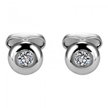 Sasha Primak Bezel-Set Round Diamond Solitaire Cufflinks