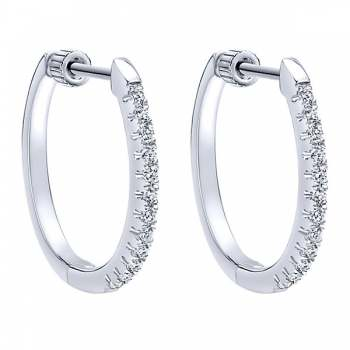 14k White Gold Diamond Classic Hoop Earrings
