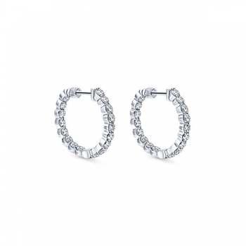 14k White Gold Hoops Classic Hoop Earrings