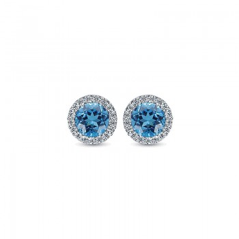Gaby Earrings 14k White Gold Diamond Swiss Blue Topaz Stud