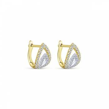 14k Yellow/white Gold Huggies Huggie Earrings