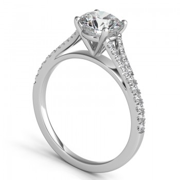 Sasha Primak Split-Shank OpenShoulder Pave Diamond Engagement Ring