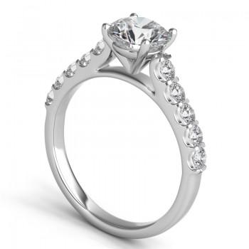 Sasha Primak 10 Stone Mutual Prong Contoured Open Shoulder Engagement Ring