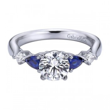 14K White Gold Diamond ANd SApphire Twisted Shank With Rounded Shank 14K White Gold Engagement Ring