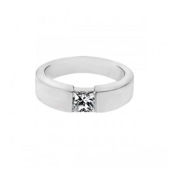Sasha Primak Bezel-Set Princess-Cut Diamond Men's Solitaire Ring