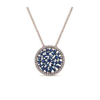 14k Pink Gold Diamond And Sapphire Fashion Necklace