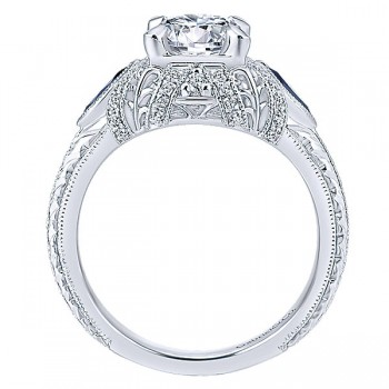 14K White Gold Diamond ANd SApphire 3 Stones Halo 14K White Gold Engagement Ring ER12583R4W44SA