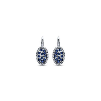 14k White Gold Diamond And Sapphire Drop Earrings