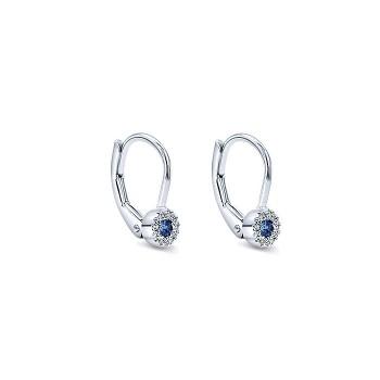 14k White Gold Diamond And Sapphire Drop Earrings