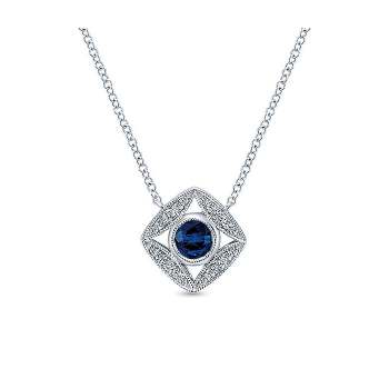 14k White Gold Diamond And Sapphire Fashion Necklace