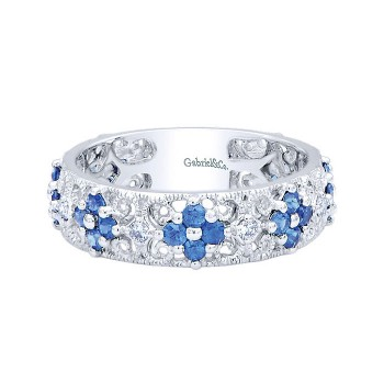 14k White Gold Diamond And Sapphire Stackable Ladies' Ring