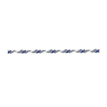 14k White Gold Diamond And Sapphire Tennis Bracelet
