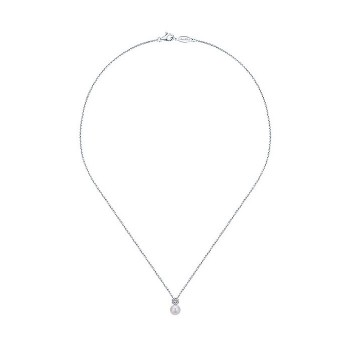 14k White Gold Diamond Pearl Fashion Necklace