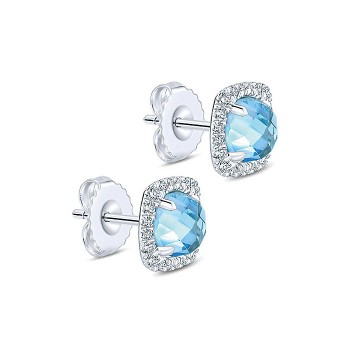 14k White Gold Diamond Swiss Blue Topaz Stud Earrings