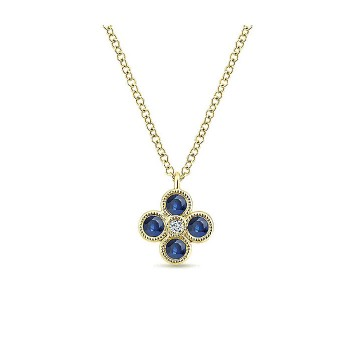 14k Yellow Gold Diamond And Sapphire Fashion Necklace