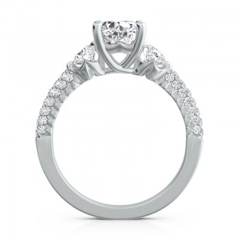 "Sasha Primak Three-Stone ""Royal Prong"" Engagement Ring with Pave Accent"