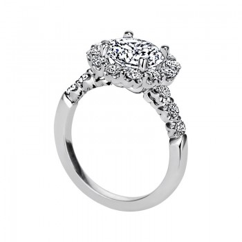 "Sasha Primak Seven-Stone ""Royal Prong"" Halo Diamond Engagement Ring"
