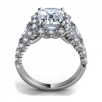 """Sasha Primak Emerald-Cut Diamond """"Royal Prong"""" Diamond Engagement Ring with Tapered Baguettes and Pa"""