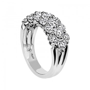 "Three-Row Round Diamond ""Royal Prong"" Wedding Band"