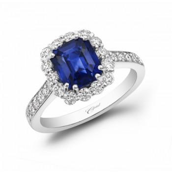 Breath Taking Emerald Cut Sapphire 18 KT White Gold Ring