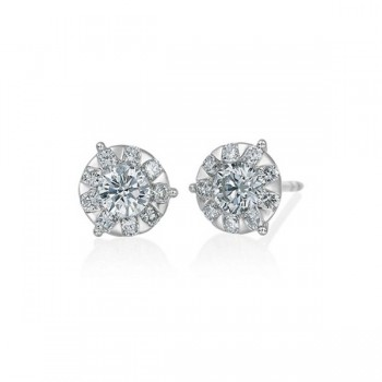 Memoire Three Prong Diamond Stud Earrings