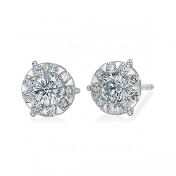 Memoire Three Prong Diamond Stud Earrings