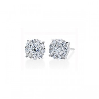 Memoire Four Prong Diamond Stud Earrings
