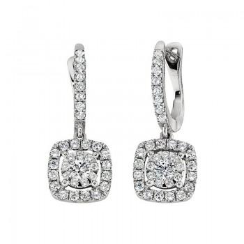 Memoire Cushion Halo Diamond Drop Earring