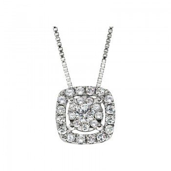 Memoire Cushion Halo Diamond Necklace