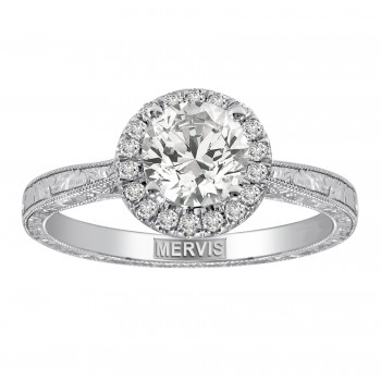 Mervis Bridal solitaire 14K White Gold Hand Engraved Engagement Ring