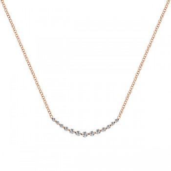 14k Pink Gold Diamond Bar Necklace