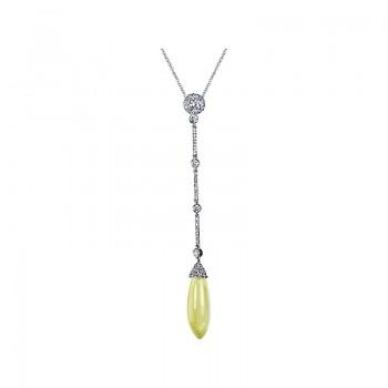 """Smooth Briolette Lemon Quartz """"Symphony"""" Collection Diamond Pendant"""
